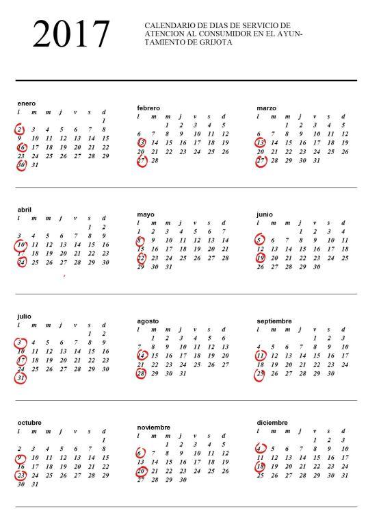 calendario atencion consumidor
